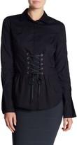 Romeo & Juliet Couture Corset Lace-Up Cotton Shirt