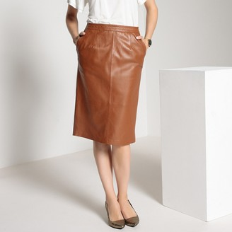Anne Weyburn Leather Straight Mid-Length Skirt