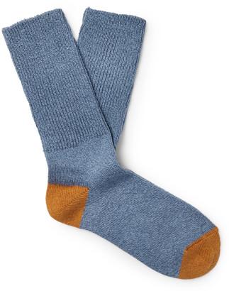 Mr P. Ribbed Melange Stretch Cotton-Blend Socks