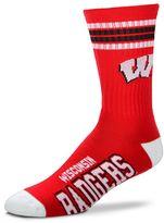 For Bare Feet Men's Wisconsin Badgers Deuce Striped Crew Socks