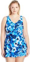 Maxine Of Hollywood Women's Floral Crush Empire Swim Dress One Piece Swimsuit