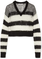 McQ Distressed Striped Mohair-blend Sweater - Black