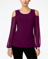 MSK Cold-Shoulder Embellished-Cuff Top