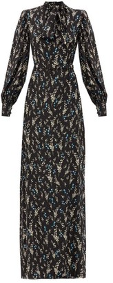 Erdem Aura Willow Ditsy-print Belted Silk Gown - Black Blue