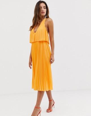 Asos Design DESIGN pleated midi dress with double layer bodice and v neck-Orange