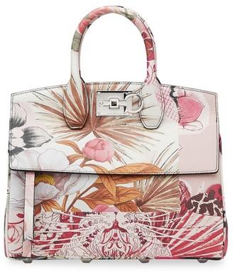 Salvatore Ferragamo Small Studio Floral Leather Top Handle Bag