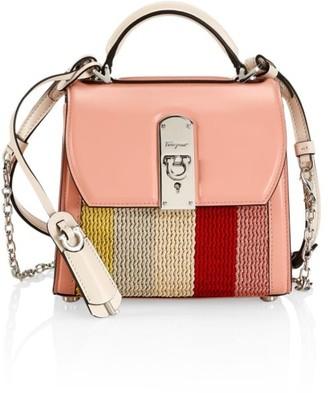 Salvatore Ferragamo Small Boxyz Knit Leather Top Handle Bag