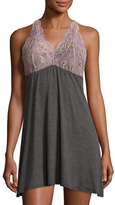 Fleurt Fleur't Lace-Back Tank Lounge Dress/Chemise, Charcoal/Rose