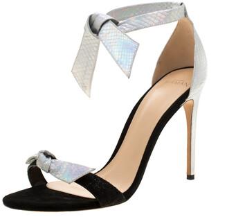 Alexandre Birman Metallic Silver Python Embossed Leather Ankle Tie Sandals Size 40