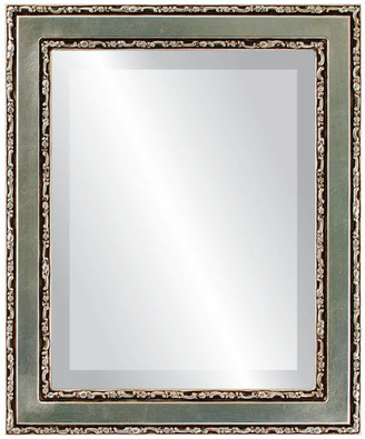 The Oval And Round Mirror Store Monticello Framed Rectangle Mirror in Silver Leaf w/ Brown Antique, 25