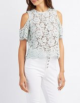Charlotte Russe Eyelash Lace Cold Shoulder Top