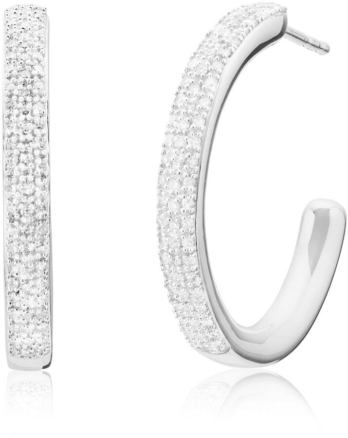 335aa7acc Large Diamond Hoop Earrings - ShopStyle