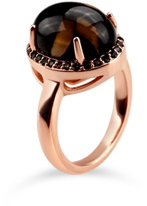 Bellus Domina Rose Gold Plated Quartz Oval Ring