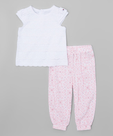 Tommy Hilfiger Pink & White Cap-Sleeve Tunic & Leggings - Infant
