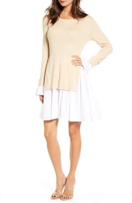 ENGLISH FACTORY Combo Knit & Poplin Dress