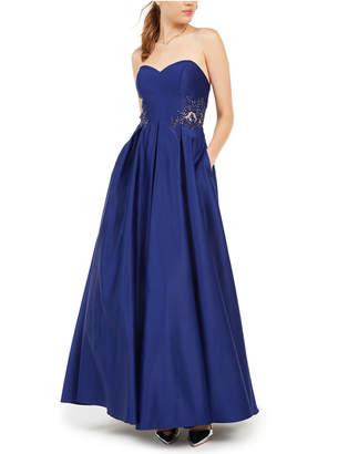 Blondie Nites Juniors' Strapless Sweetheart Applique Gown