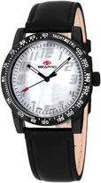 Seapro Womens Bold White Faux Pearl Dial Black Leather Strap Watch