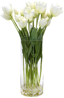 "One Kings Lane 23"" White Tulip Arrangement with Tall Vase - Faux"