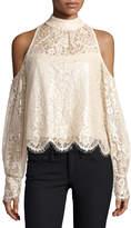 Nanette Lepore Shimmer-Lace Cold-Shoulder Blouse