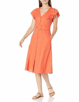 Donna Morgan Women's Short Sleeve Button Front Buckle Belt Linen Dress