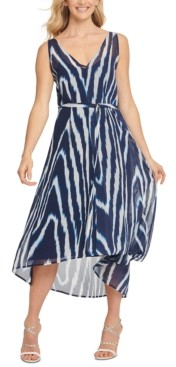 DKNY Printed High-Low Dress