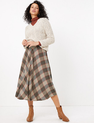 Marks and Spencer Checked Midi Fit & Flare Skirt