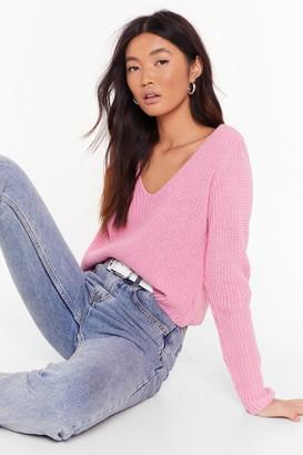 Nasty Gal Womens The World Revolves Around V Knit Jumper - Pink - S, Pink
