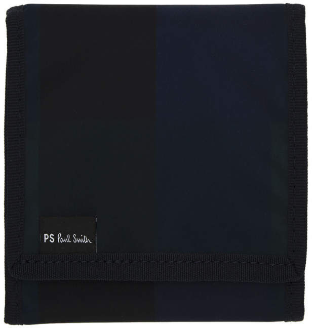 Paul Smith Navy Check Chunky Trifold Wallet