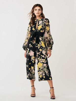 Diane von Furstenberg Delphi Silk Crepe de Chine Cropped Jumpsuit