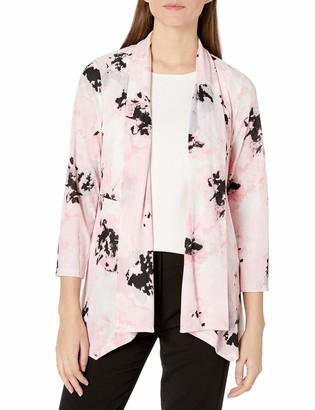 Kasper Women's Plus Size Blurred Floral Printed Knit 3/4 Sleeve Cozy