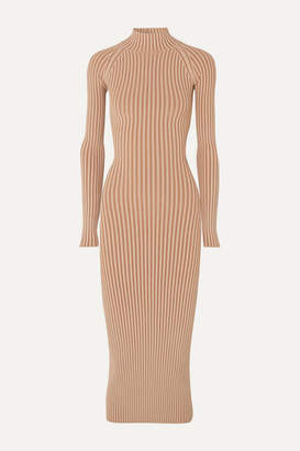 Dion Lee Cutout Ribbed-knit Midi Dress - Copper