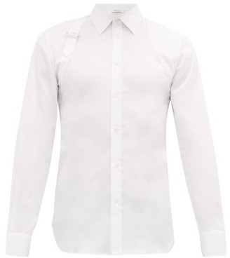 Alexander McQueen Pique-panelled Cotton Poplin Harness Shirt - White