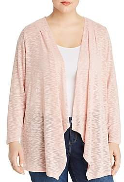 Cupio Plus Draped Lace-Inset Open-Front Cardigan