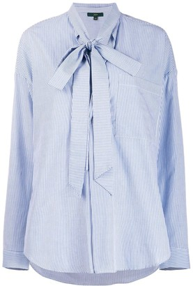 Jejia Striped Bow Fastening Shirt