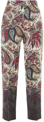 Etro Cropped Printed Wool-crepe Tapered Pants