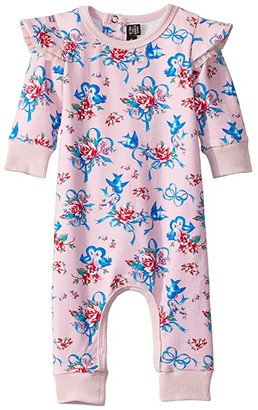 Rock Your Baby Blue Bird Long Sleeve Playsuit (Infant) (Pink) Boy's Jumpsuit & Rompers One Piece