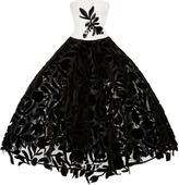 Oscar de la Renta Floral Tea Length Gown