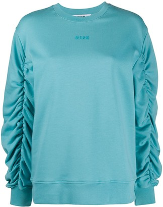 MSGM Ruched-Sleeve Sweatshirt