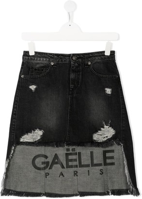 Gaelle Paris Kids Asymmetric-Hem Denim Skirt