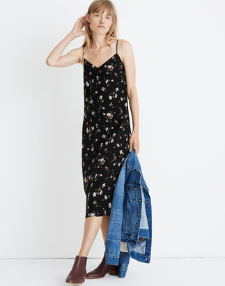 Madewell Petite Silk Eva Side-Slit Slip Dress in Backyard Blooms