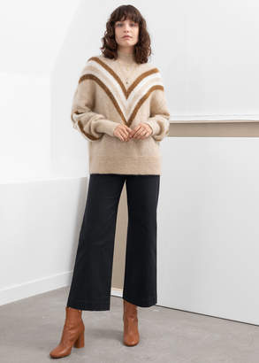 And other stories Mock Neck Varsity Stripe Sweater