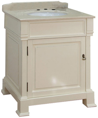"""Bellaterra Home 30"""" Single Sink Vanity, Wood, Cream"""