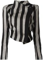 Ann Demeulemeester striped cropped jacket - women - Cotton/Linen/Flax/Polyester/Rayon - 36