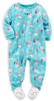 Carter's Zip-Front Snowman Fleece Footed Pajama in Blue