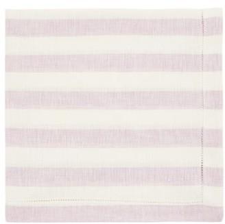 Luisa Beccaria Set Of Two Striped Eyelet Linen Napkins - Purple