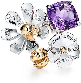 Tiffany & Co. Return to TiffanyTM Love Bugs amethyst ladybug flower ring in silver and gold