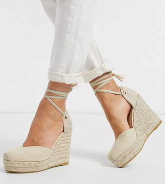 Raid Wide Fit Dorian ankle tie espadrilles in natural canvas