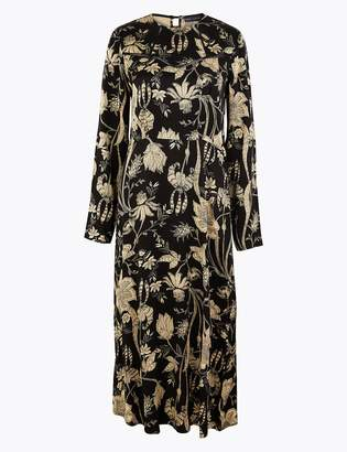 M&S CollectionMarks and Spencer Satin Floral Print Waisted Midi Dress