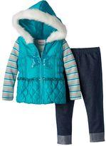 Little Lass Toddler Girl Sequin Vest, Striped Tee & Jeggings Set