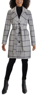 Jones New York Plaid Single-Breasted Belted Walker Coat